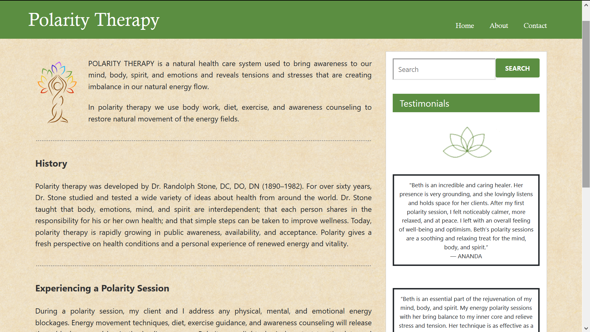Polarity Therapy CT – Web Design by Dave